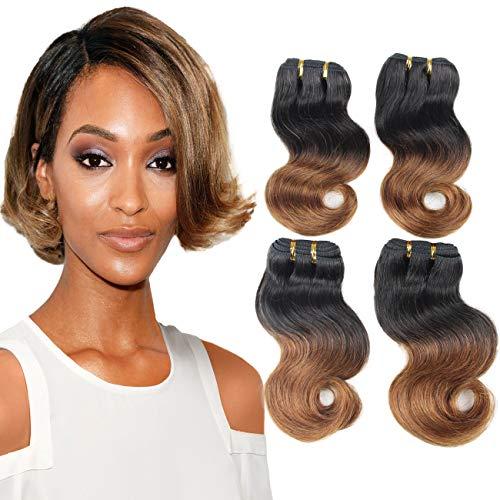 Ombre Brown Human Hair Bundles - ORANGE STAR Brazilian Short Body Wave Human Hair Extensions Dark Roots Brown 100% Remy Hair Bob Weave 4 Bundles 50g/pc (T1B/30 8 8 8 -