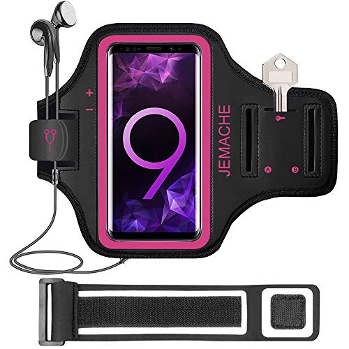 Galaxy Note 9/8 Armband, JEMACHE Gym Run Workout Water Resistant Arm Band Case for Samsung Galaxy Note 9/8 / 5 with Key/Card Holder (Rosy)