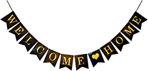 Ailyther Black Welcome Home Banner Decorations - Gold Welcome Home Banner - Gold Glitter Welcome Home Banner for Home,School,Office Party Decor Supplie(Black & Gold)