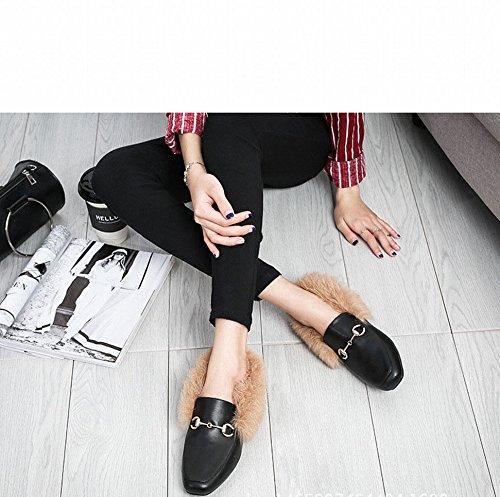 De Zh B Et Pois Que Ainsi Chaussures Des L'hiver Une Automne Seule Marée Américaines Latérales Avec Plates Maomao Femmes Européen Velours RrIqrvwO