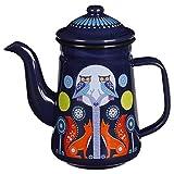 Folklore Enamel Coffee Pot, Night Design, Blue (33 Ounces)
