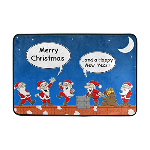 Tesdfk Doormat Group of Santas Work On Roof Merry Christmas Indoor/Outdoor Decor Rug Doormat 23.6(L) X15.7(W) Inch Non-Slip Home Decor