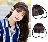 #8: 9A 100% Malaysian Virgin Clip in Bangs Human Hair Extensions Flat/Fringe Bangs with Temple LIght and Soft Hand Tied Fashion Hair Extensions for Girls (Clip in Bangs with Temple, 2/Dark Brwon)