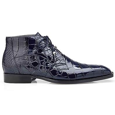 41a51c636 Amazon.com | Belvedere Stefano Navy Genuine Alligator Ankle Boot | Chukka
