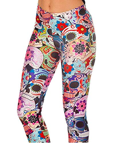 Maxi Colorful Halloween Costume Skull Cute Design 3D Printed Leggings Style Pants for Women Workout Exercise Yoga Running