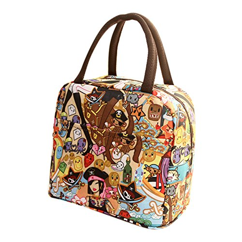 Insulated Thermal Lunch Bag Bento Cooler Carry Case Food Meal Storage Tote Portable Printed Cartoon Pattern Large Capacity Zipper Closure Waterproof Leakproof Picnic Office Shopping Lunch Handbag