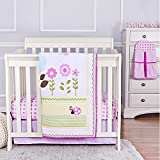 Dream On Me Baby Owl 5 Piece Reversible Portable Crib Bedding Set