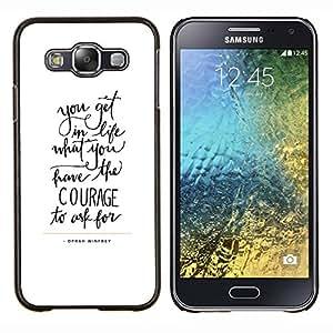 YiPhone /// Prima de resorte delgada de la cubierta del caso de Shell Armor - cartas coraje texto inspiradores de motivación - Samsung Galaxy E5 E500