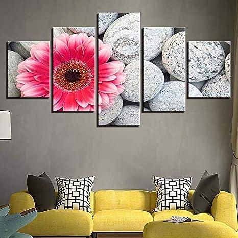 CYYCY Lienzo no Tejido Lienzo Marco de Fotos Trabajo de Arte de la Pared decoración del hogar 5 piezasFlower Stone 12 A