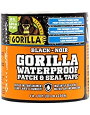 Gorilla Waterproof Patch & Seal Tape, Works Under Water, Indoor & Outdoor Use, Permanent Bond, Instantly Seals, Flexible, 4 in x 10 ft, Black, (Pack of 1) 4670002