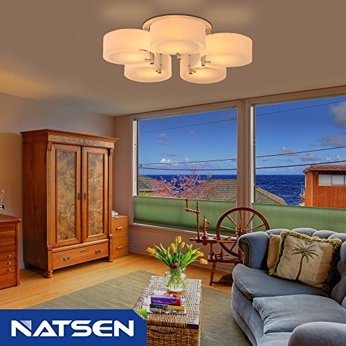High Quality Ceiling Fan With Lights For Living Room 52: NATSEN Ceiling Lights Metal Semi Flush Mount Ceiling Light