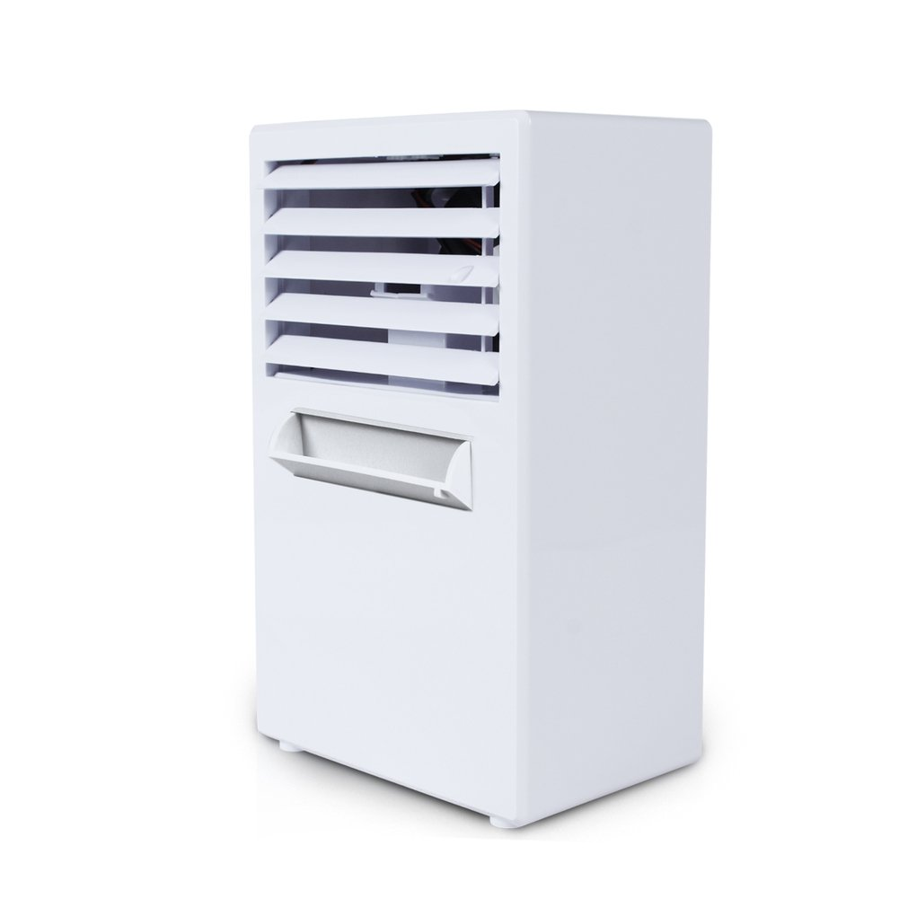 JiaQi Mini Air Cooler,Desktop Air Conditioner,Humidifier Personal Space Cooler Usb Outdoor Camping Office-White 14.5x10x25cm(6x4x10inch)