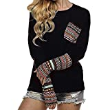 Women Sweatshirt- Honestyi -Women's Patchwork Casual Loose T-shirts Blouse Tops With Thumb Holes,Cotton blend (XL, Black)