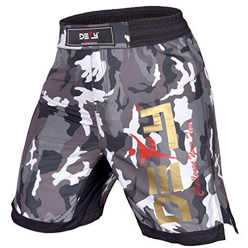 DEFY Premium MMA Fight Shorts Clothing UFC Cage Kickboxing Fighting Grappling Martial Arts Muay Thai Training Camouflage (White Camo, Large)