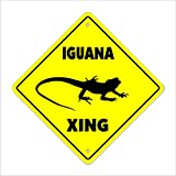 "Iguana Crossing Sign Zone Xing | Indoor/Outdoor | 12"" Tall Plastic Sign animals gag funny joke lover pet lizard"
