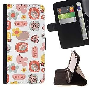 For LG Nexus 5 D820 D821 Case , Lindo Patrón de arte para niños Blanco- la tarjeta de Crédito Slots PU Funda de cuero Monedero caso cubierta de piel