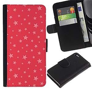 Billetera de Cuero Caso del tirón Titular de la tarjeta Carcasa Funda del zurriago para Apple Iphone 4 / 4S / Business Style stars pink red pattern gift christmas xmas