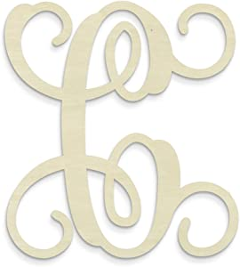 UNFINISHEDWOODCO Single Vine Unfinished Monogram C Decorative Letter, 13-Inch