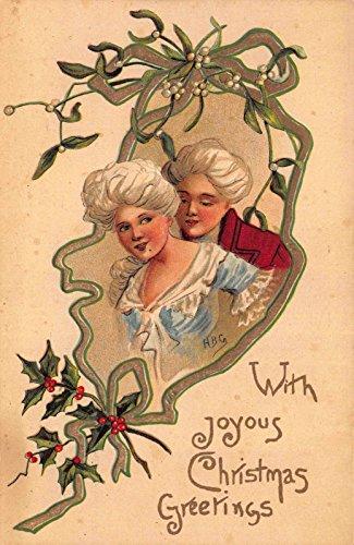 - HBG art Christmas Postcard Victorian Couple Mistletoe and Holly~116268