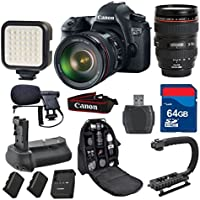 Canon 6D DSLR Camera with 24-105mm L IS USM + 64GB Memory Card + Video Rechargeable LED Light + Professional Condenser Shotgun Microphone + Pro Battery Grip + Backpack - International Version