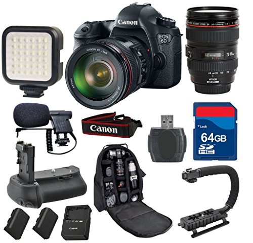 Canon 6D DSLR Camera with 24-105mm L IS USM + 64GB Memory Card + Video Rechargeable LED Light + Professional Condenser Shotgun Microphone + Pro Battery Grip + Backpack - International Version by ALS VARIETY