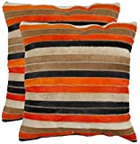 Safavieh Pillow Collection Throw Pillows, 22 by 22-Inch, Quinn Orange and Tan, Set of 2