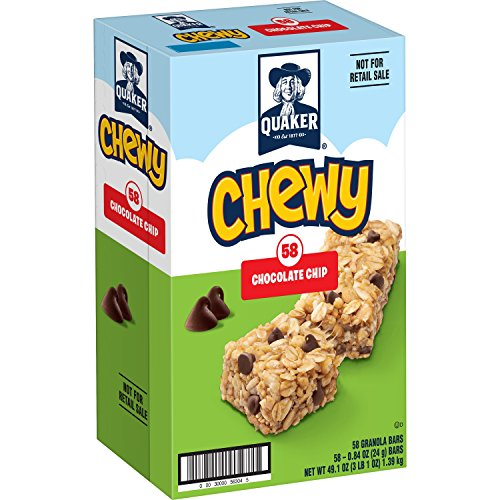 Quaker Chewy Granola Bars, Chocolate Chip, 0.84 Ounce Bars, 58 Count (Chewy Quaker Granola)