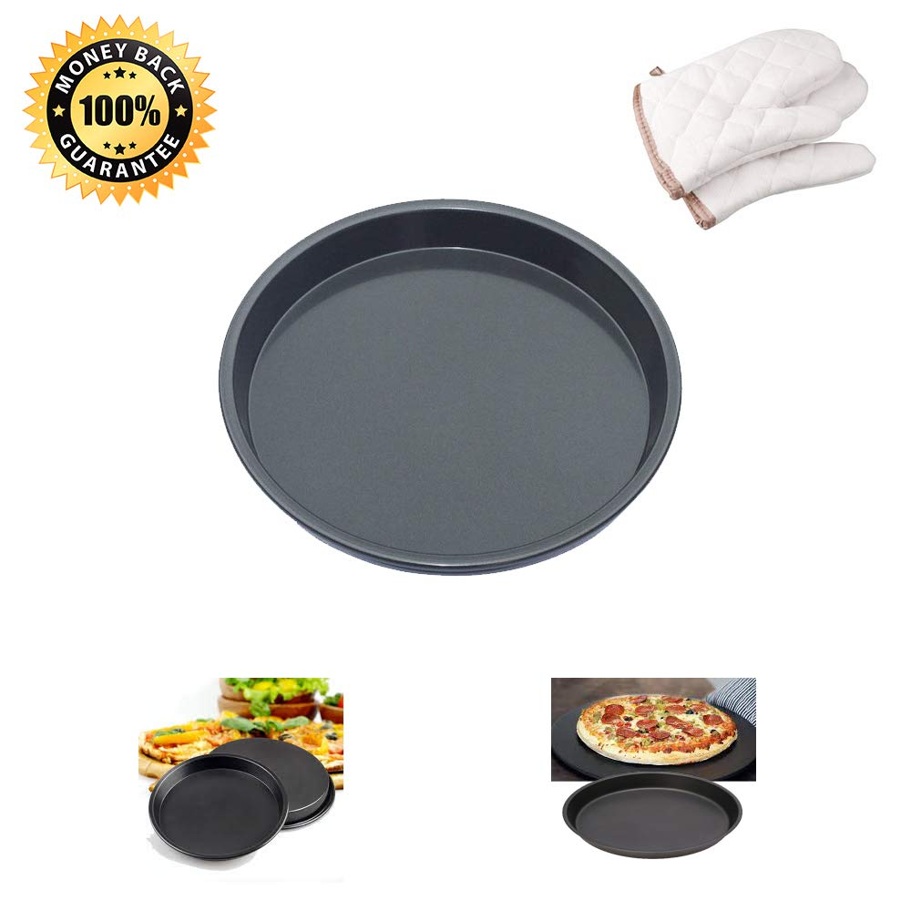 Pizza Pan, Kitchen Baking Tray Deep Dish Non-Stick Hard Coating Microwave Crispers Commercial Grade Round Baking Pans(Size 10'' Cake Pan/Pie Pans Black 1-Count + Oven Mitt 2-Count 8.7'' x 6.3'')
