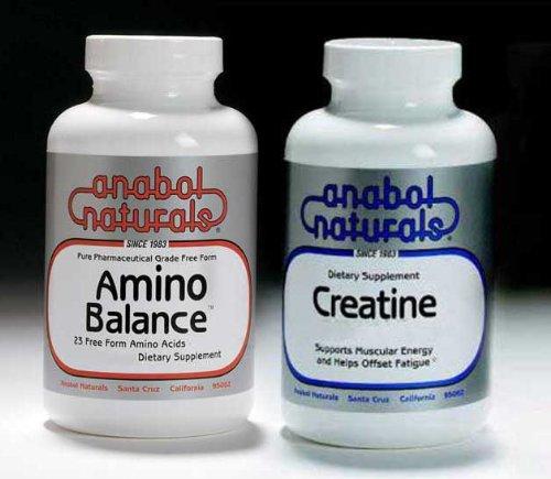 - Anabol Naturals Energy Stack: Amino Balance 500 gram pure powder & Creatine 500 gram pure powder (5 month supply)