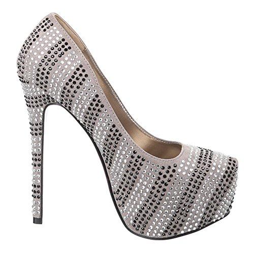 Damen Schuhe Pumps Strass Deko Plateau High Heel Elfenbein Schwarz Beige 36 37 38 39 40 41 Khaki