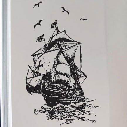 Mar Barco Niños Arte Pegatinas de pared/etiquetas de la pared/transferencias de pared/adhesivo decorativo para pared, Large: Amazon.es: Oficina y papelería