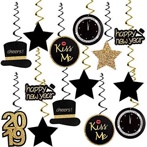 KatchOn Happy New Year Hanging Swirl - Pack of 30, Sturdy | 2019 New Years Eve Photo Props Swirls Decorations Supplies | Great for Oscars Award Themed New Year's Party Backdrop | Home Office Décor]()