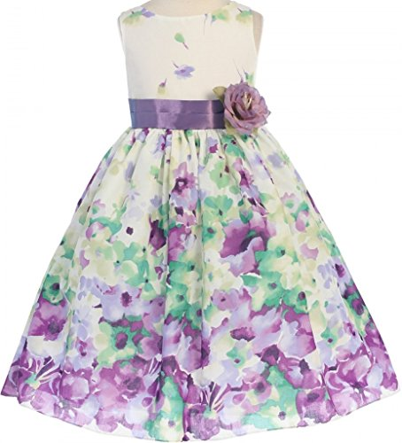 Printed Bubble Sleeve Dress - 8