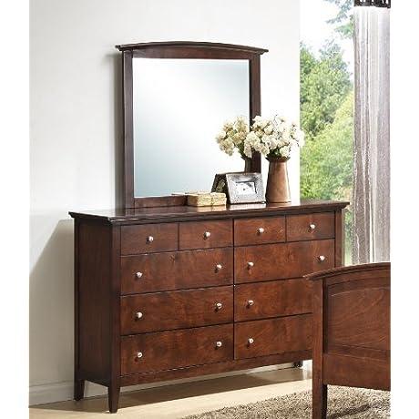 Roundhill Furniture Cheffes Wood Dresser And Mirror Cherry