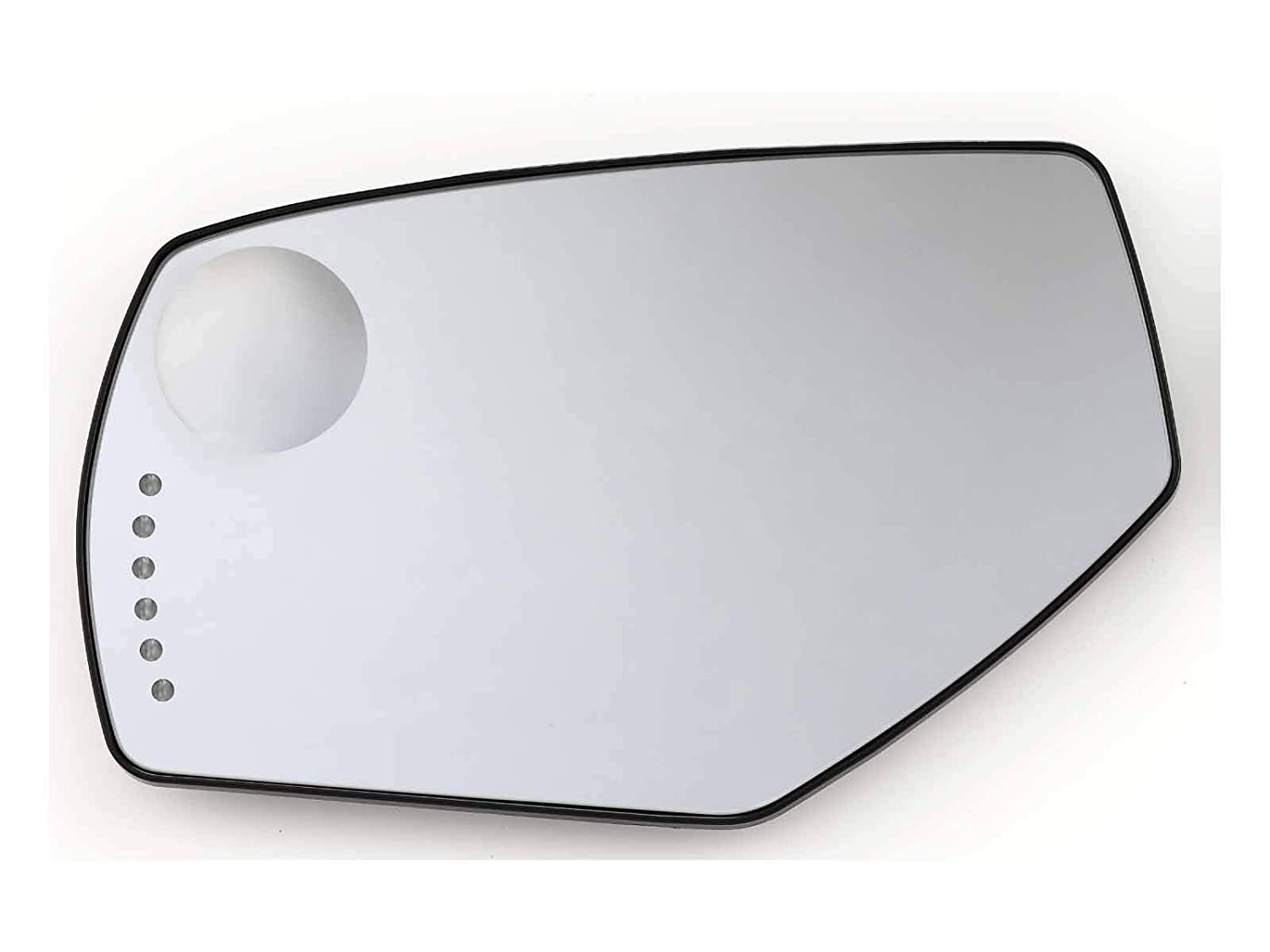 Replacement For Mirror Glass Heated W//Turn Signal Blind Spot Glass Backing Left GMC Silverado Sierra 14-18