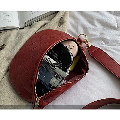 JFHGNJ Mode PU-läder kvinnor midjeväska kedja rombisk enfärgad multifunktion stor kapacitet ny kvinnlig bältesväska – röd_0