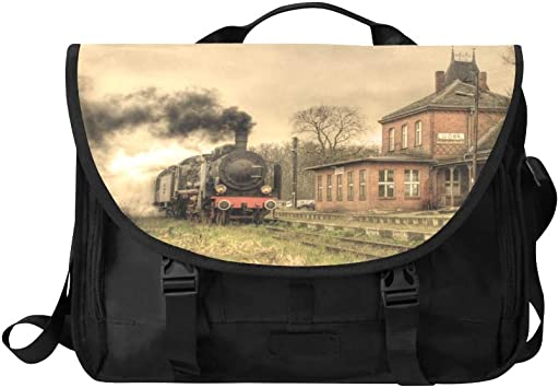 Office Shoulder Bag Vintage Black Steam Powered Railway Train Multi-Functional Laptop Carrying Bag Fit for 15 Inch Computer Notebook MacBook