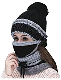 Womens Beanie Hat Scarf Mask 3 In 1 Set, Winter Warm Slouchy Knit Cap and Scarf