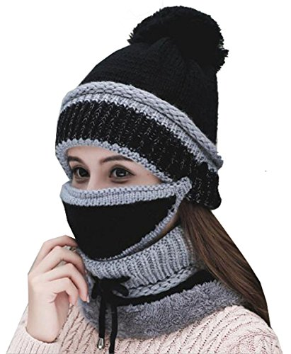 Annymall Womens Beanie Hat Scarf Mask 3 In 1 Set, Winter Warm Thick Slouchy Knit Beanie Cap and Scarf (Black)