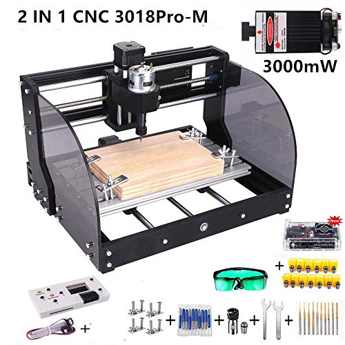 Titoe 2-in-1 3000mW Upgrade Version CNC 3018 Pro-M Machine,GRBL Control DIY Mini CNC Machine, 3 Axis Pcb Milling Machine, Wood Router Engraver with Offline Controller, with ER11 and 5mm Extension Ro