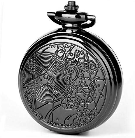 Doctor Who Reloj de bolsillo con caja de cadena para cosplay Dr Who Reloj de cuarzo de gran tama ntilde;o de 58 mm para hombre