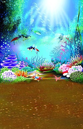 5X7FT Laeacco Vinyl Thin Backdrop Colorful Coral Fish Bubbles Sunlight Irradiation Wonderful Underwater World Scene Theme Photography Background Photo Studio Props (Scene Screen)