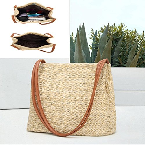 for Weaving Beige Travel Handbag Women Bucket Bag Bag Summer Brown Bags Shoulder Messenger Hasp Bags Big w0IUPq
