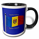 3dRose 777images Flags and Maps - The flag of Moldova on a blue background with Republic of Moldova in English and Moldovan Romanian - 11oz Two-Tone Black Mug (mug_63183_4)