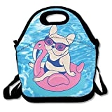 Frenchie Enjoys Summer On Flamingo Pool Float in Swimming Pool Lunch Bags Insulated