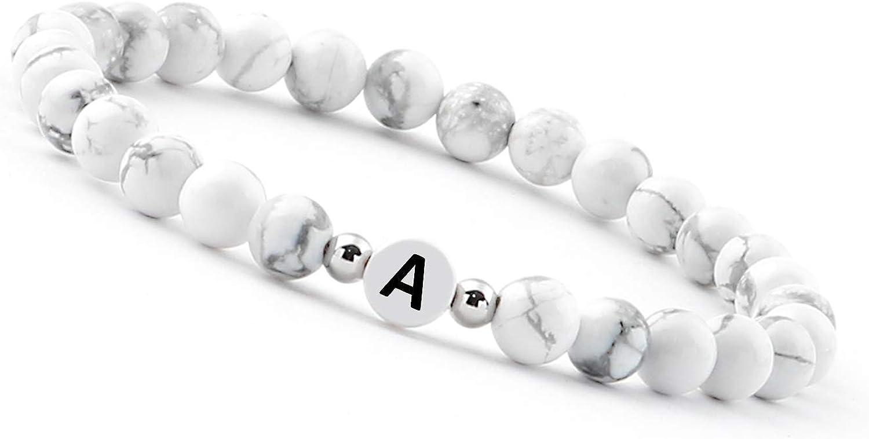 - White pearl bracelet (initial bracelet) bracelet for couples with letter (best friend bracelets)