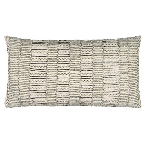 Rizzy Home T12369 Decorative Lumbar Poly Filled Throw Pillow 11 x 21 Beige Silver