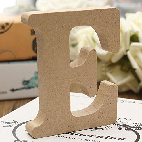 Wood Wall Letters - Andision Decorative Wood Letters, Hanging Wall 26 Letters Wooden Alphabet Wall Letter for Baby Name Girls Bedroom Wedding Brithday Party (E)