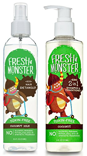 Fresh Monster Toxin-free Hypoallergenic Kids Detangler Spray and 2in1 Shamoo & Conditioner, Coconut, 2 count, 8 ounce