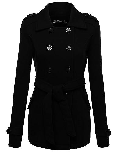 Mujer Abrigo Chaqueta de Paño Doble Botones Clásico Jacket con Cinturón
